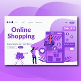 Online Shopping- Flat style  landing page illustration for website royalty free illustration