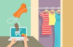 Online shopping flat vector banner Stock Image