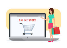 Online shopping girl. Business cartoon concept Vector Stock Photography