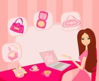 Online shopping girl Stock Photos