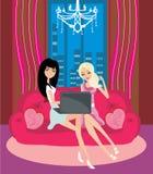Online shopping girls. Illustration Stock Image