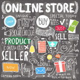 Online shopping hand drawn doodles Royalty Free Stock Photography
