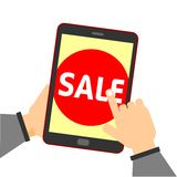 Online shopping. Hand touch sale button. Human hand holding tablet computer with sale button stock illustration