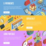 Online shopping horizontal flyers set. Online shopping horizontal flyers with isometric mall icons. Mobile marketing and distribution, e-payment and e-commerce Royalty Free Stock Photography