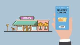 Online-shopping i bagerit Online-bageri Lagra och räcka med en smartphone Smartphone app Vektorlägenhet Royaltyfria Bilder