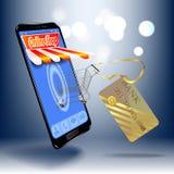 Online-shopping i online-lagret på din smartphone För din websitedesign affisch Arkivfoto