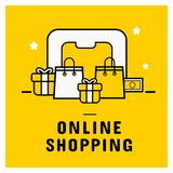 Online shopping icon set banner with smartphone stock illustration