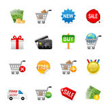 Online shopping icons. A set of color web icons with light shadow vector illustration