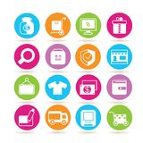 Online shopping icons. Collection of 16 online shopping icons in colorful buttons royalty free illustration