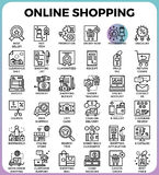 Online shopping icons. Online shopping concept detailed line icons set in modern line icon style concept for ui, ux, web, app design Stock Photos