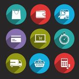 Online Shopping Icons Flat Royalty Free Stock Photo