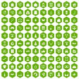 100 online shopping icons hexagon green. 100 online shopping icons set in green hexagon isolated vector illustration Stock Photos