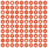 100 online shopping icons hexagon orange. 100 online shopping icons set in orange hexagon isolated vector illustration Stock Image