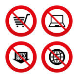 Online shopping icons. Notebook pc, cart, buy Royalty Free Stock Photo