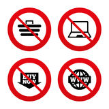 Online shopping icons. Notebook pc, cart, buy Stock Photo