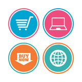 Online shopping icons. Notebook pc, cart, buy. Royalty Free Stock Photo