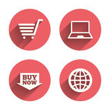 Online shopping icons. Notebook pc, cart, buy Stock Photos