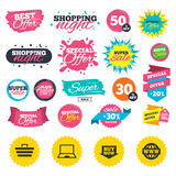 Online shopping icons. Notebook pc, cart, buy. Royalty Free Stock Photography