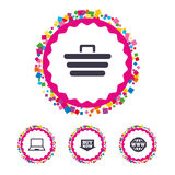 Online shopping icons. Notebook pc, cart, buy. Stock Photography