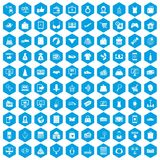 100 online shopping icons set blue. 100 online shopping icons set in blue hexagon isolated vector illustration Royalty Free Illustration