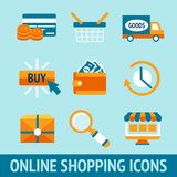 Online Shopping Icons Set Stock Photo