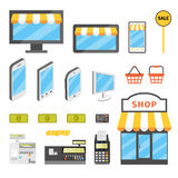 Online shopping icons. Set. E-commerce flat  illustration. Buy online cartoon pictures Royalty Free Stock Photography
