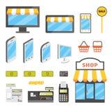 Online shopping icons. Set. E-commerce flat illustration. Buy online cartoon pictures Vector Illustration