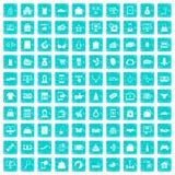 100 online shopping icons set grunge blue Royalty Free Stock Photo