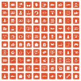 100 online shopping icons set grunge orange. 100 online shopping icons set in grunge style orange color isolated on white background vector illustration Royalty Free Stock Image