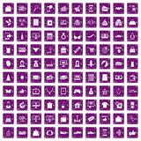 100 online shopping icons set grunge purple. 100 online shopping icons set in grunge style purple color isolated on white background vector illustration Royalty Free Stock Photography