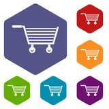Online shopping icons set hexagon Royalty Free Stock Photography