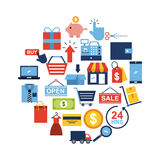 Online shopping icons set. Icon vector illustration design graphic Stock Photos