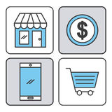 Online shopping icons set Royalty Free Stock Photo