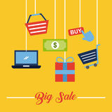 Online shopping icons set Royalty Free Stock Images