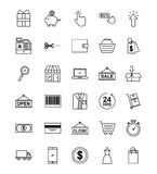 Online shopping icons set Royalty Free Stock Photography