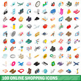 100 online shopping icons set, isometric 3d style. 100 online shopping icons set in isometric 3d style for any design vector illustration Stock Images