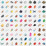 100 online shopping icons set, isometric 3d style Royalty Free Stock Photos