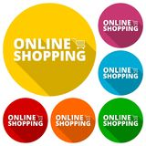 Online Shopping icons set with long shadow. Vector icon Royalty Free Stock Image