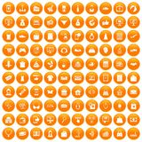 100 online shopping icons set orange. 100 online shopping icons set in orange circle isolated on white vector illustration vector illustration