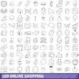 100 online shopping icons set, outline style. 100 online shopping icons set in outline style for any design vector illustration Royalty Free Stock Photography
