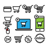 Online shopping icons Stock Photography