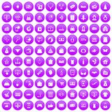 100 online shopping icons set purple. 100 online shopping icons set in purple circle isolated on white vector illustration Stock Photos