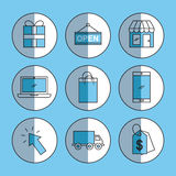 Online shopping icons set shadow. Icon vector illustration design graphic Royalty Free Stock Images