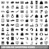 100 online shopping icons set, simple style Stock Image