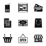 Online shopping icons set, simple style Stock Photos