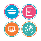 Online shopping icons. Smartphone, cart, buy. Stock Image