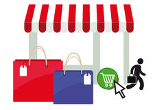 Online shopping. Illustration with stall, shopping bags, silhouetted figure and cart on white background Stock Image