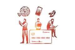 Online shopping, internet shop, card payment concept. stock illustration