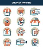 Online shopping internet and web icons templates vector set Stock Photography