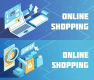 Online Shopping Isometric Banners. Online shopping horizontal isometric banners on blue background with product choice, electronic payment isolated vector Stock Images